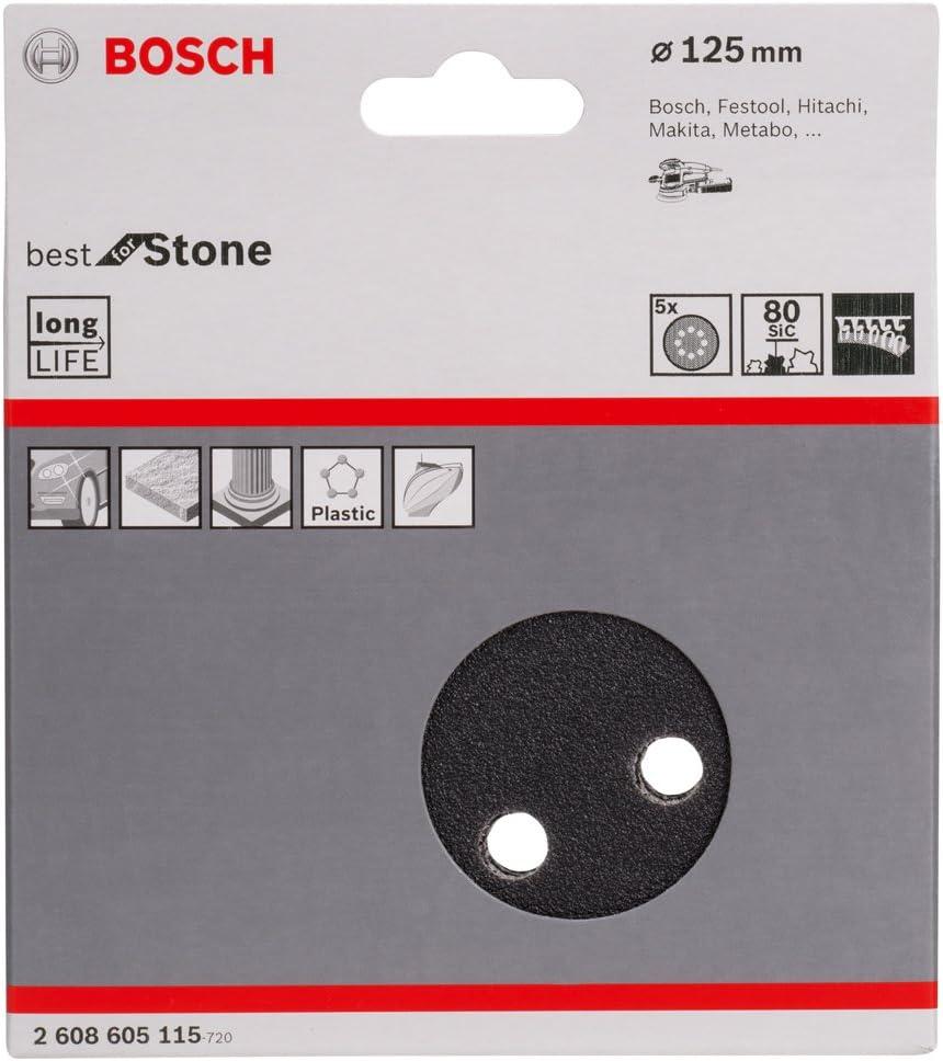 8 holes-80 grit 125 mm Bosch Professional 2608605115 Sanding Sheets for Random Orbit Sanders Best for Stone-125 mm Diameter Black