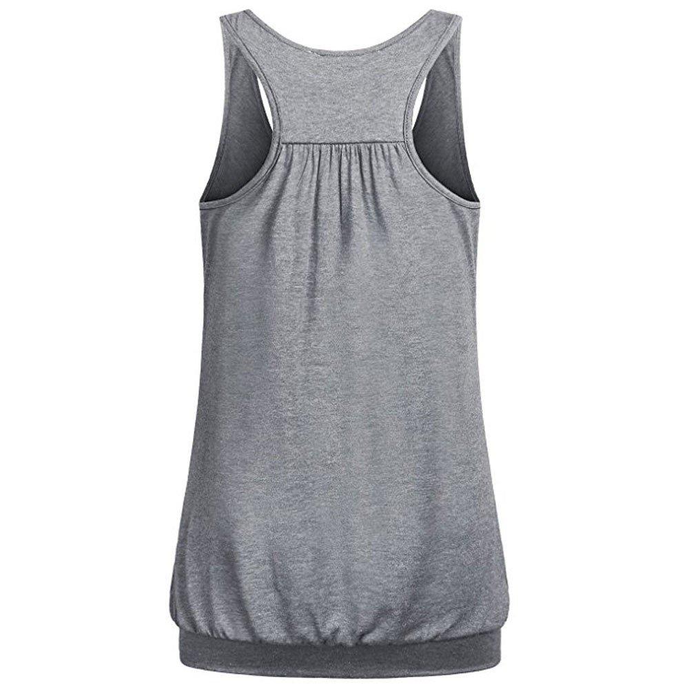 Women Tank Tops Basic Solid Color Vest Round Neck Blouse Shirt Racerback Shirt (S, Gray)