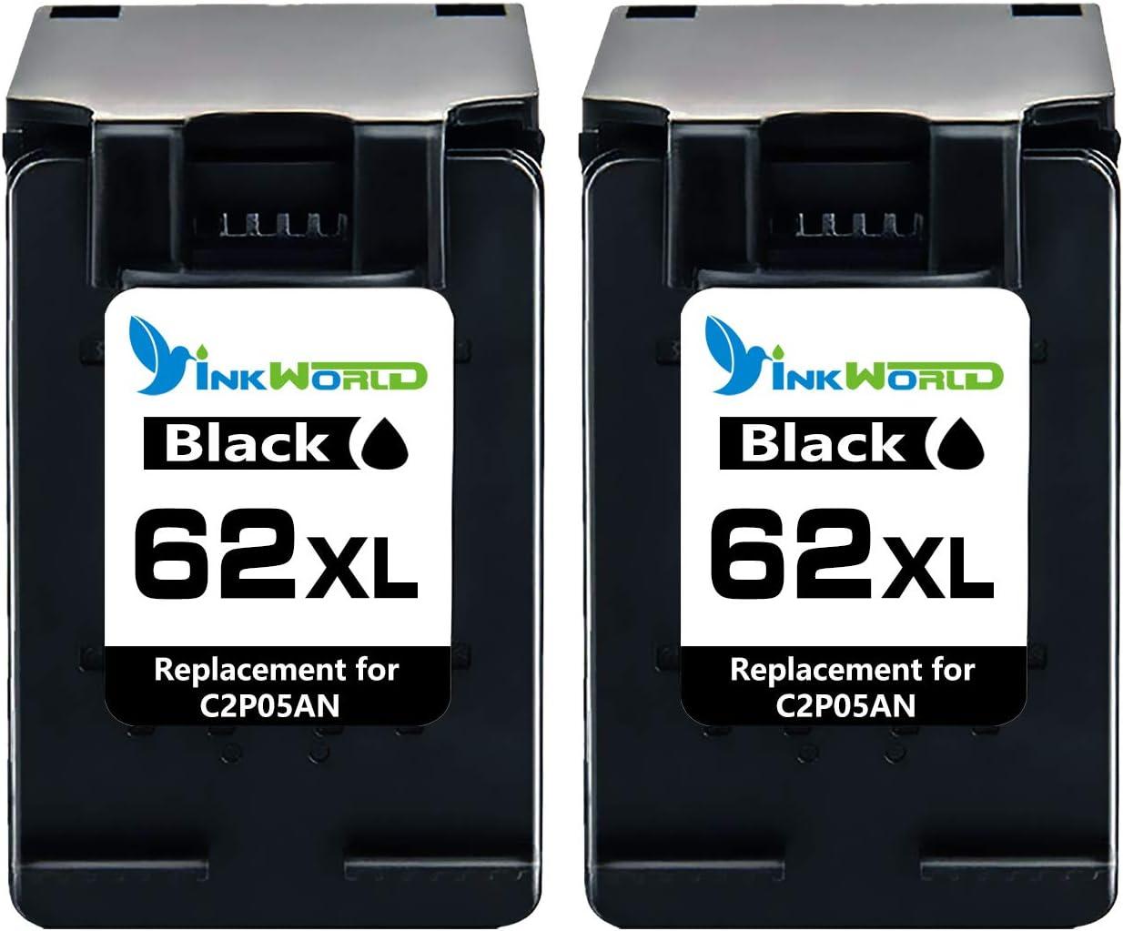 Inkwood 62XL - Cartuchos de tinta remanufacturados HP 62, 62XL. Combo Pack compatible con HP Envy 5540, 5640, 7640, 5646, 5546, Officejet 5740, 5742, 200. 2 unidades, color negro.: Amazon.es: Oficina y papelería