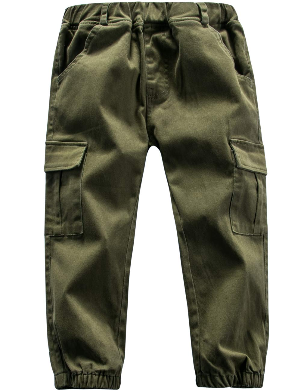 BYCR Boys' Cotton Cargo Pants Elastic Waist Slim Fit Multi Pocket Chino Joggers (Army Green, 130 (US Size 6/7)) by BYCR