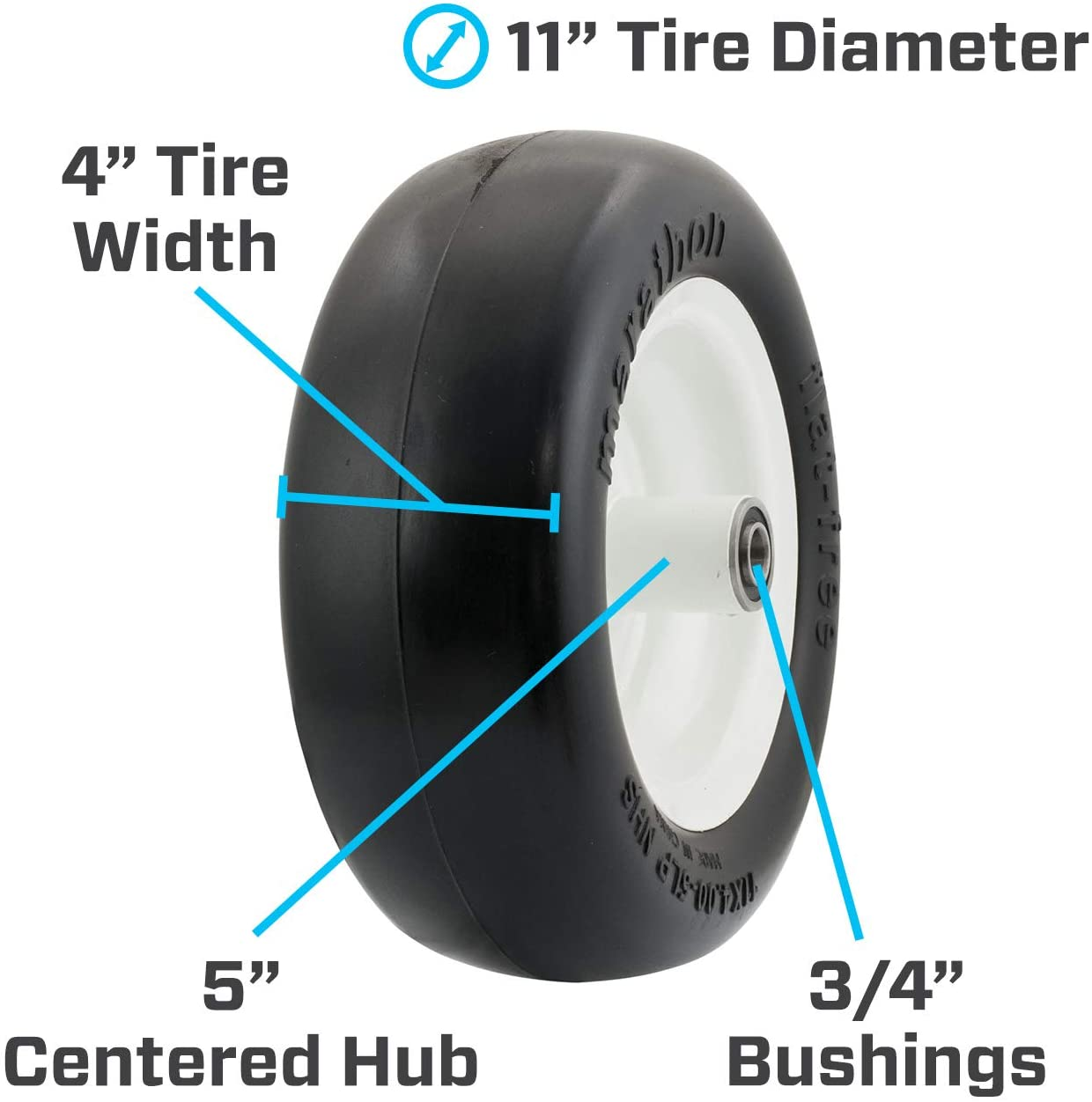 "5 Centered Hub with Grease Fitting Smooth Tread Tire for Zero Turn Mowers 3//4 Bearings LotFancy 11x4.00-5/"" Lawn Mower Tire on Wheel Flat Free"