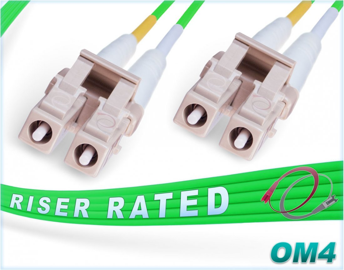 FiberCablesDirect - Green LSZH 2M OM4 LC LC Fiber Patch Cable   100Gb Duplex 50/125 LC to LC Multimode Jumper 2 Meter (6.56ft)   Backwards Compatible to OM3/OM2   10/40/100g mmf lc-lc dx 100gbase sfp+