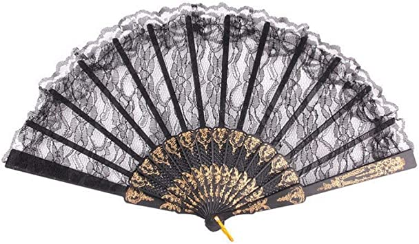 Retro Spanish Floral Fabric Foldable Lace Dancing Wedding Party Hand Fan