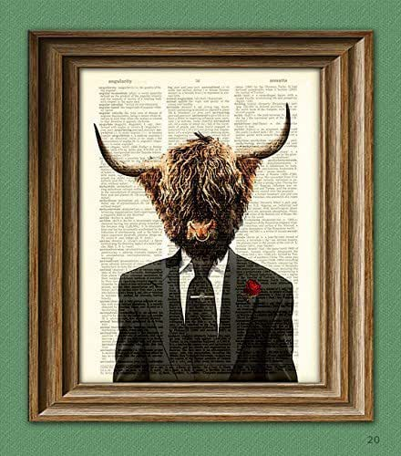 Collageorama Shamus Macfurry The Highland Bull Cow In A Suit And Tie Illustration Beautifully Upcycled Dictionary Page Book Art Print 8 5 X 11 Inch Handmade