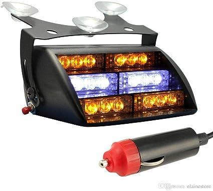 Green 6.5 24W 9 Modes Traffic Advisor Emergency Beacon Warning Vehicle Strobe Flashing Lights Bar Kit for Interior Roof//Dash//Windshield//Grille//Deck 2 X 6 LED Emergency Strobe Light Bar