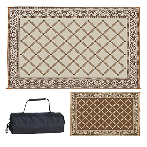 Reversible Mats 116097 Outdoor Patio 6-Feet x 9-Feet, Brown/Beige RV Camping Mat (Inexpensive Ideas Deck Patio And)