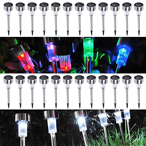 SPECIAL 24 Pack Outdoor Stainless Steel LED Solar Power Light w/ White & Color Changing