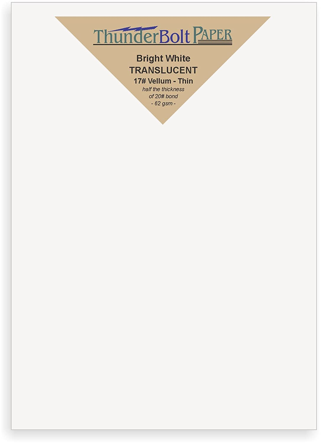 100 Bright White Translucent 17# Thin Sheets - 5' X 7' (5X7 Inches) Photo|Card|Frame Size - 17 lb/pound Light Weight Fine Quality Paper - Tracing, Fun or Formal Use - Not a Clear Transparent TBP