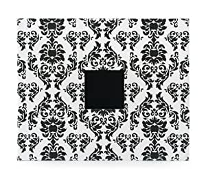 American Crafts 12-Inch by 12-Inch D-Ring Cloth Scrapbooking Album, Black and White Damask