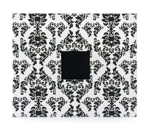 American Crafts 12-Inch by 12-Inch D-Ring Cloth Scrapbooking Album, Black and White (White Cloth Album)