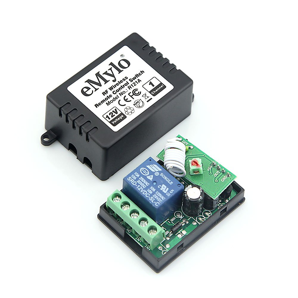 eMylo/® DC 12V Two Transmitters 4X 1 Channel RF Wireless Remote Control Receiver Light Switch Transmitter Controller
