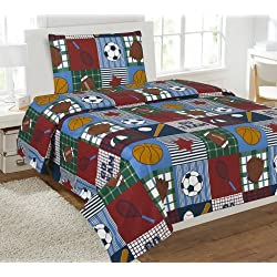 Elegant Home Multicolor Patchwork Blue Green Red White Brown Sports Basketball Football Baseball Soccer 3 Piece Printed Twin Sheet Set with Pillowcase Flat Fitted Sheet for Boys / Kids/ Teens # Rugby