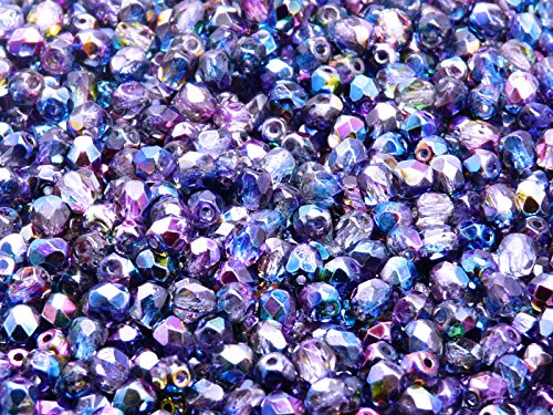 100 pcs Czech Fire-Polished Faceted Glass Beads Round 4mm Magic - Glass 4mm Beads Round