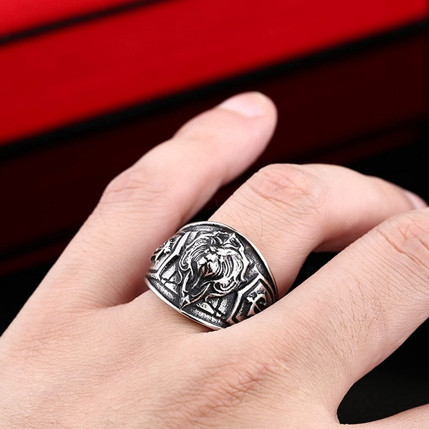 Men\'s Vintage Gothic Stainless Steel Band Rings Silver Black Angry ...