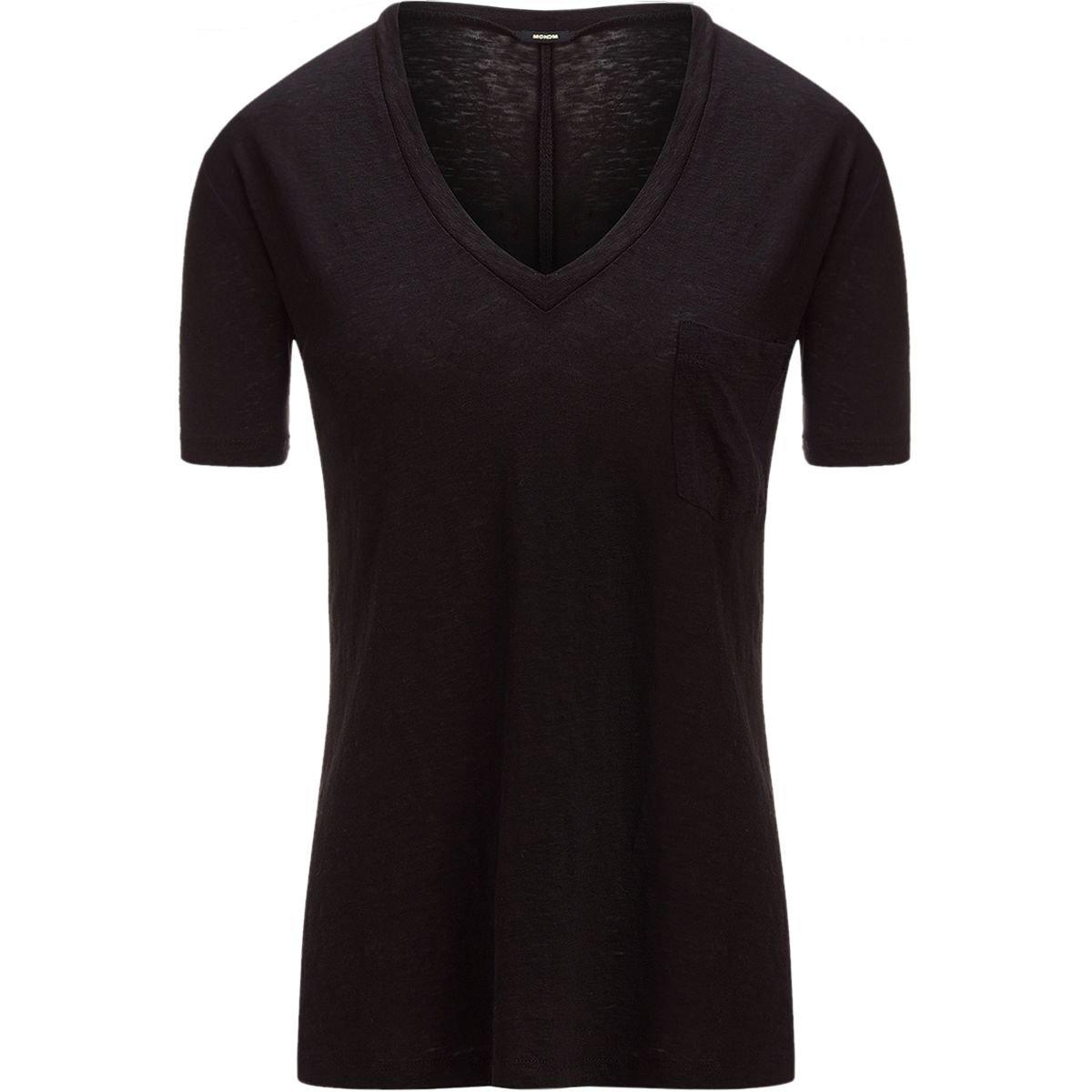 Monrow Women's Linen V Neck Pocket Tee, Black, Large