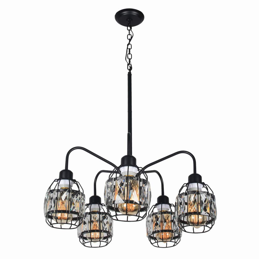 Baiwaiz Crystal Chandelier for Dining Rooms, Black Metal Industrial Wire Cage Lighting Modern Hanging Pendant Living Room Light 5 Lights Edison E26 090 by Baiwaiz