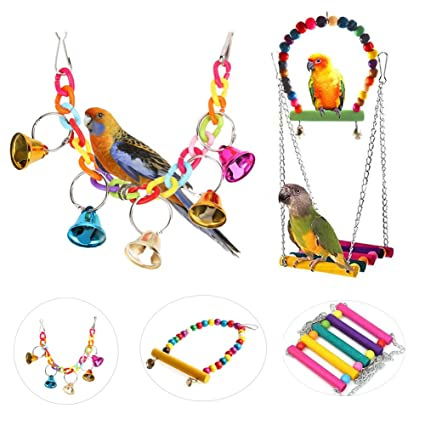 Pet Birds Toys Parrot Chew Toys Swing For Swing Bridge Climbing Rope Ladder Hanging Acrylic With A Long Standing Reputation Bird Toys Bird Supplies