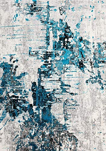 Luxe Weavers Abstract Turquoise 8x10 Area Rug (Large Rug 8x10)