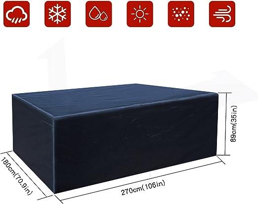 Buzazz Fundas de Muebles Oxford Tela Impermeable Resistente al Polvo Anti-UV Protección Exterior Muebles de Jardín Cubiertas de Mesa y Silla Negro (270 x 180 x 89 cm): Amazon.es: Hogar