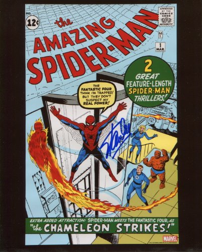 Stan Lee Amazing Spiderman #1 Signed / Autographed 8x10 Glossy Photo. Includes Fanexpo Certificate of Authenticity and Proof of signing. Entertainment Autograph Original.