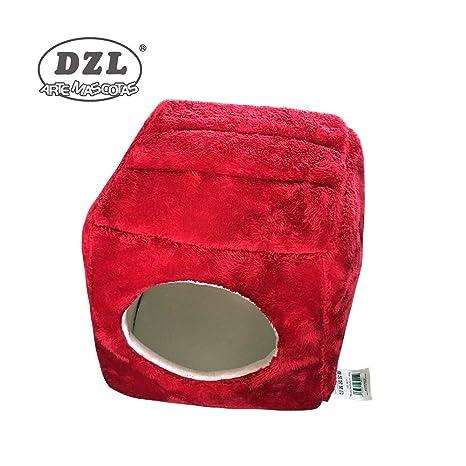 DZL®CASETA DE ALGODÓN para Perro Y Gato Doble Uso 35X35X32CM (Rojo)