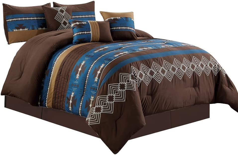 7 Piece Western Southwestern Native American Design Comforter Set Multicolor NAVY blue/Coffee Brown Embroidered King Size Bed in a Bag Navajo Bedding Set- Makala … (Navy Blue, King)