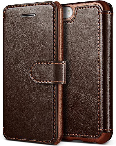 iPhone SE/5S/5 Case, Premium PU Leather ID Card Slot Holder Wallet Drop Protection Cover [Slim Folio Case] for Apple iPhone SE/5S/5 by Lumion (Dandy Wallet - Brown)