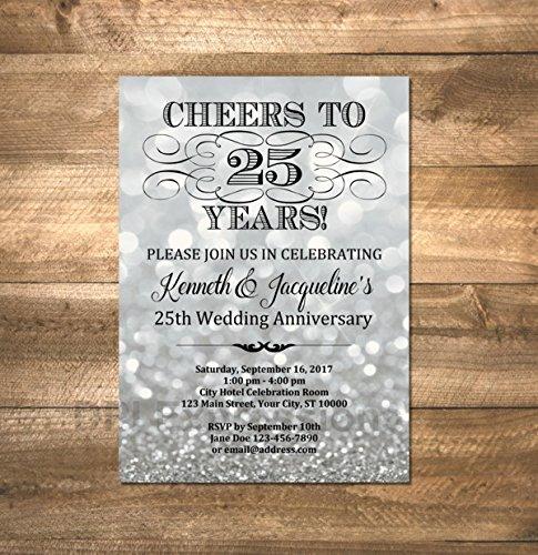 25th Wedding Anniversary Invitation, Silver Sparkle 25th Anniversary Invitation, Silver Bokeh Anniversary Invite, Cheers to 25 Years ()