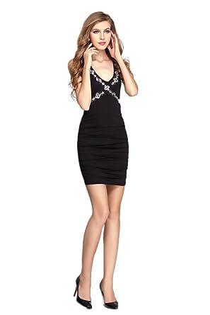 SEXYHER Ever Pretty Charming Empire Waist V-Neck Evening Prom Dress -OWS3008(Black