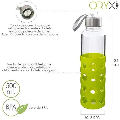 ORYX 5075055 Botella Agua de Cristal con Funda Goma y Tapón An Plateado