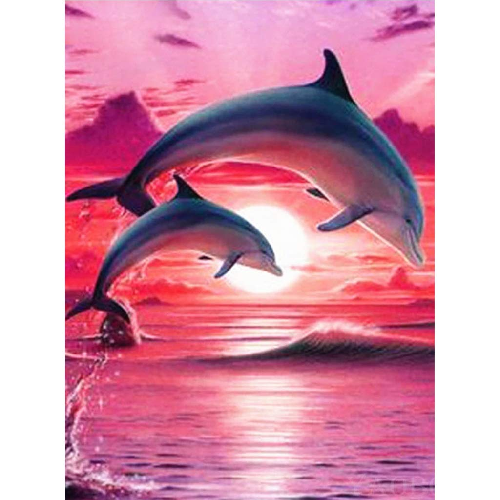 DIY 5D Diamond Painting by Number Kit, Diamond Painting Kits for Adults Full Drill 5D Diamond Crystal Art Full Diamond Dolphin Rhinestone Embroidery Cross Stitch Arts Craft for Canvas 30x40cm