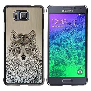 Patrón Lobo nativo americano Negro Dibujo- Metal de aluminio y de plástico duro Caja del teléfono - Negro - Samsung ALPHA G850