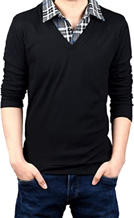 Coolred-Men Premium Essential Knit Polo-Collar Fake Two Piece Sweater