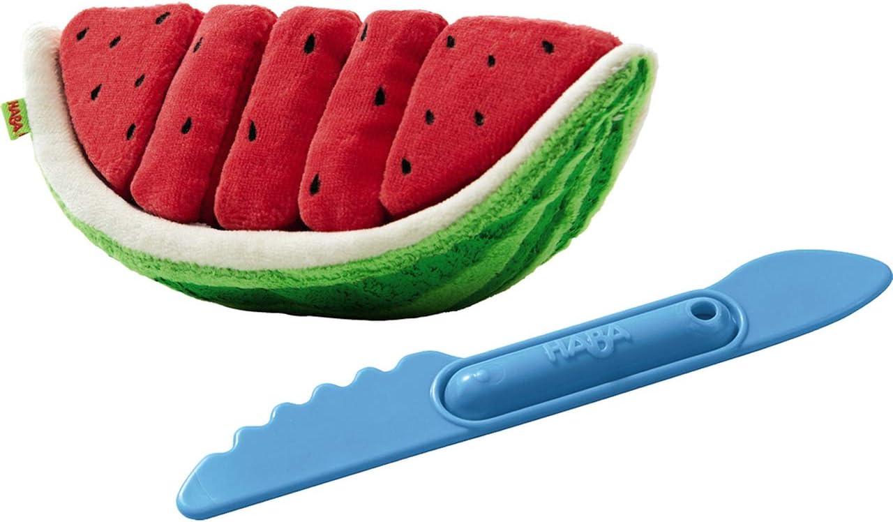 HABA Biofino Watermelon Washable Plush Play Food with 5 Velcro Slices