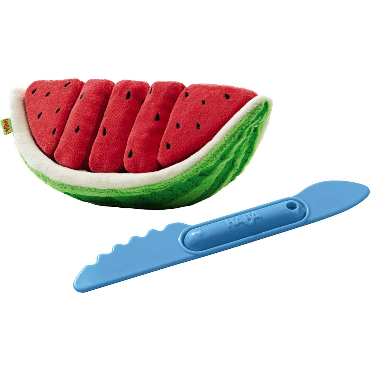HABA Biofino Watermelon Washable Plush Play Food with 5 Velcro Slices by HABA