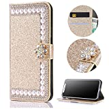Stysen Galaxy S6 Wallet Case,Galaxy S6 Glitter Flip Case, Gold Bookstyle with Strass Flower Buckle Protective Wallet Case Cover for Samsung Galaxy S6-Flower,Gold
