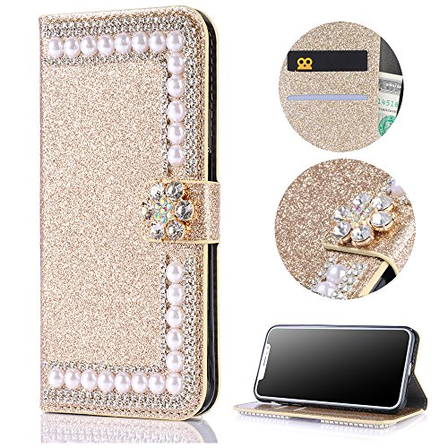 Stysen Wallet Case for Huawei Mate 10 Lite,Shiny Pearl Pattern Gold Bookstyle with Strass Flower Buckle Protective Wallet Case Cover for Huawei Mate 10 Lite-Flower,Gold by Stysen
