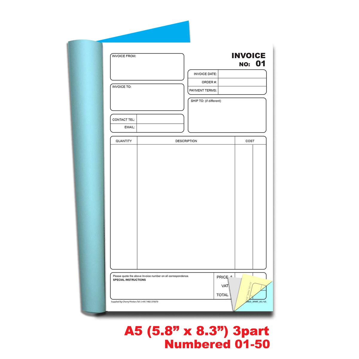 50 Sets 5.8 x 8.3 Inches Cherry Invoice Book A5 3-Part Numbered