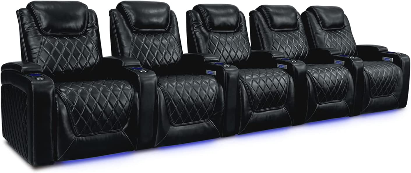 Row of 2 Loveseat Power Recliner Premium Top Grain Leather LED Lighting Power Headrest Valencia Piacenza Home Theater Seating