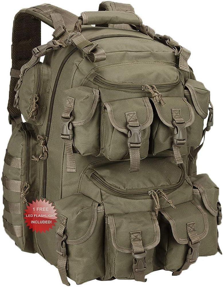 """Nexpak USA 20 Inch Tactical Molle Shooting Range Hydration Ready 17"""" Laptop Backpack Bag + LED Flashlight"""