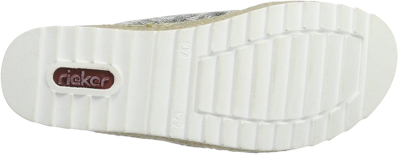 Rieker Damen V3281 Pantoletten, Mehrfarbig (schwarz Weiss Gjuqd