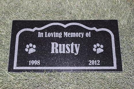 GraphicRocks Sandblast Engraved Tile Pet Memorial Headstone Grave Marker Dog Cat NPD 6in.x12in.
