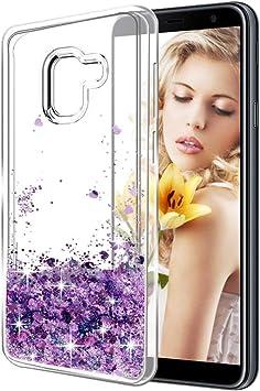 XTCASE Funda Samsung Galaxy J6+ / J6 Plus, Líquido Glitter Suave TPU Silicona Carcasa para Samsung Galaxy J6 Plus Brillante Bling Purpurina llamativa Delgado Flexible Protectora Case Cover: Amazon.es: Electrónica