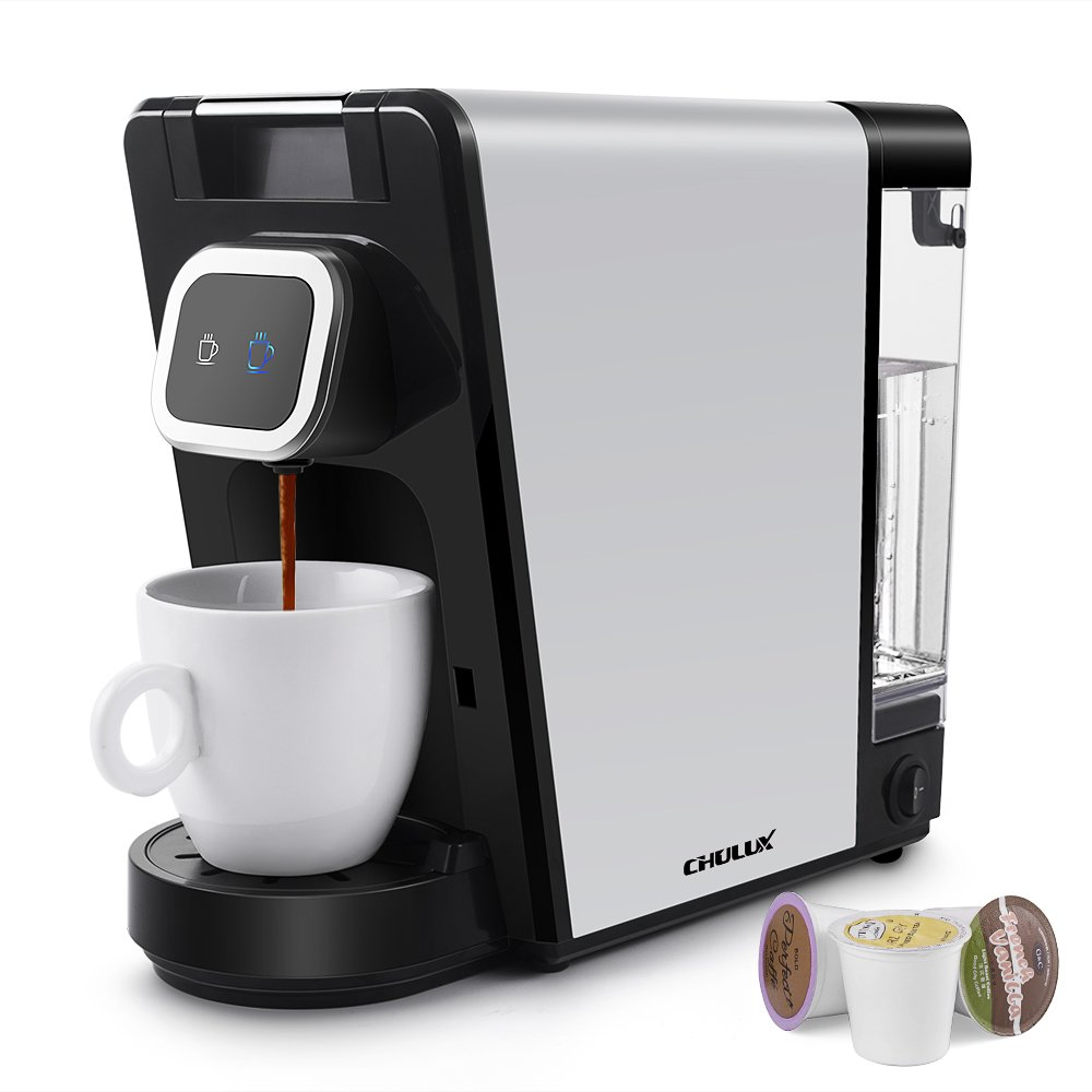 CHULUX Single Pod Coffee Maker Machine,Ground Coffee,Small and Big Cup Buttons with Indicator Light,Large Visiable Removable Reservoir,1150W by CHULUX