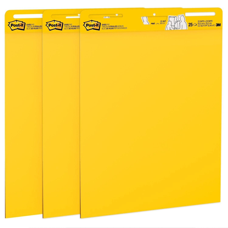 Post-it Easel Pad - 25 Sheets - 25'' x 30'' - Bright Yellow Binder - Self-stick - 3 / Carton