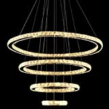 MEEROSEE MD8825-8642MNWW LED Crystal Modern Ceiling Fixtures Pendant Lighting Dining Room Contemporary Adjustable Stainless Steel Cable 4 Rings Chandelier, Warm White