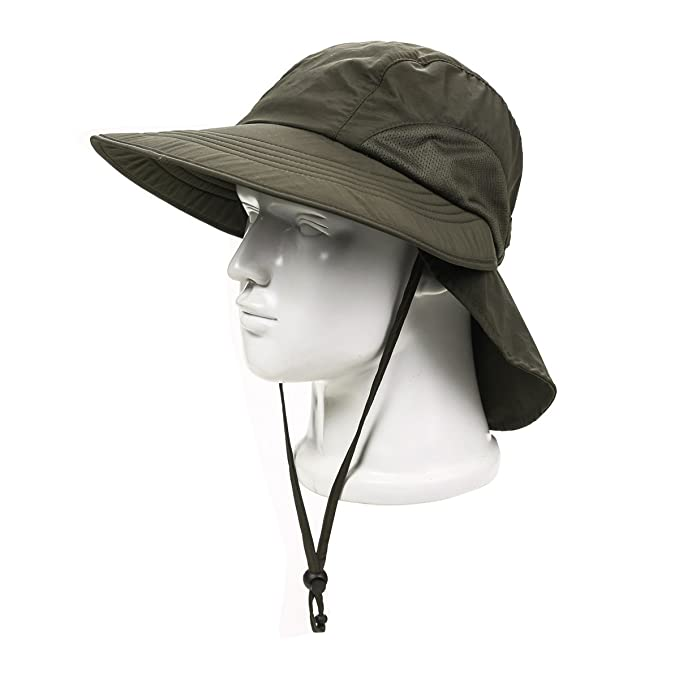 Summer UV protection hat camo bucket hat sun protection fisherman hat with  string (ArmyGreen) c5277e3aab7
