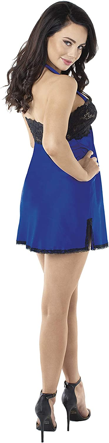 Dreamgirl Womens Charmeuse and Lace Chemise