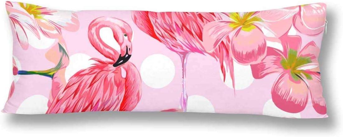 CiCiDi Seitenschl/äferkissen Kissen-Bezug 40x145 cm Rosa Flamingos Blumen bl/üht geometrischen Tupfen Atmungsaktives Kissenh/üllen mit Rei/ßverschluss Baumwollen und Polyester