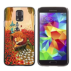 Shell-Star Arte & diseño plástico duro Fundas Cover Cubre Hard Case Cover para SAMSUNG Galaxy S5 V / i9600 / SM-G900F / SM-G900M / SM-G900A / SM-G900T / SM-G900W8 ( Lion Flowers Cartoon Fairy Tale Art Friends )
